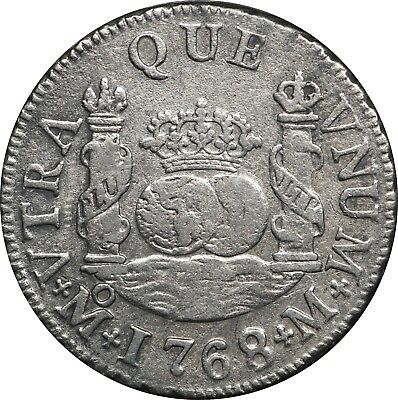 1768-M Mexico Silver 2 Reales, KM# 87, XF Details, Light Surface Corrosion
