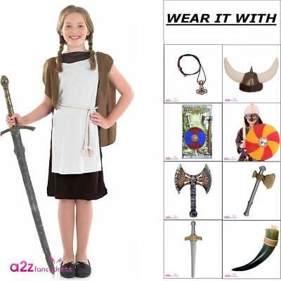 Viking or Saxon Girl Costume Norse Childs Kids World Book Day Fancy Dress Outfit