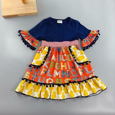 W-1078 Boutique Alphabet Print Dress (Ready to Ship From Ohio) (Free Shipping)