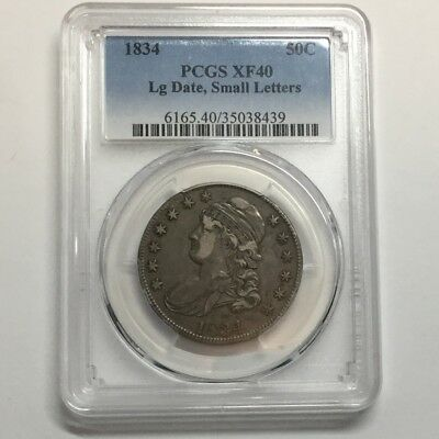 1834 50C Capped Bust Half Dollar PCGS XF40 Lg Date, Small Letters #