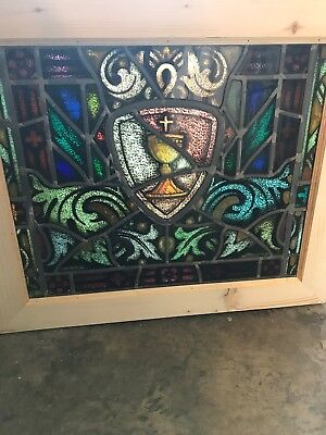 SG 2662 antique painted in fired holy chalice window 26.5 x 22.5