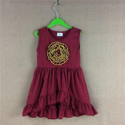 W-1006 Boutique Burgundry Dress w/Rose (Ready to Ship From Ohio) (Free Shipping)