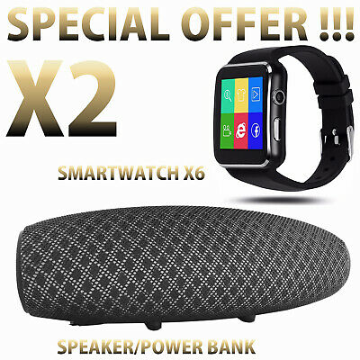 SMARTWATCH OROLOGIO iPhone ANDROID CON SIM SMART WATCH X6 + SPEAKER / POWER BANK