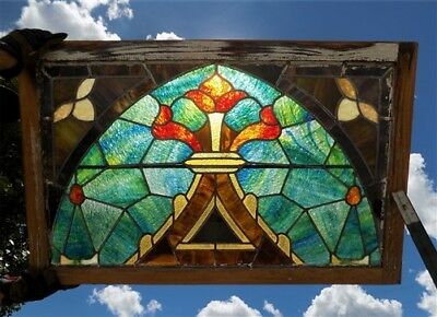 40 x 25.5 Antique Stained Glass Window Church Set Wood Frame Arts Crafts Vintage