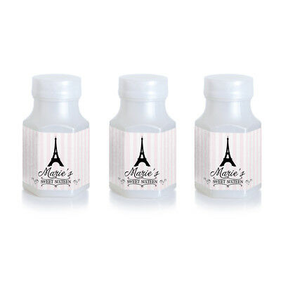 8 Paris Eiffel Tower Party Theme Birthday Personalized 3x5 inch Wine Labels
