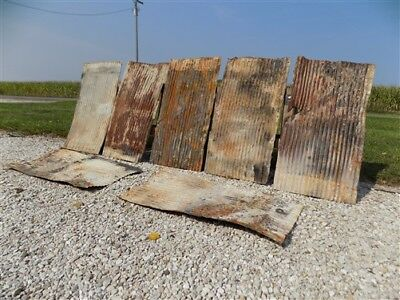 7 Pcs Corrugated Weathered Barn Tin Farmhouse Architectural Salvage Vintage b