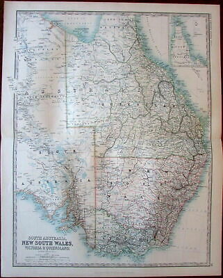 Australia New So Wales Victoria Queensland c.1892 Johnston large detailed map
