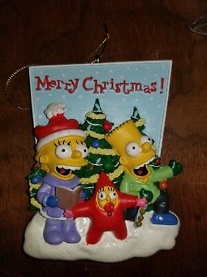 The Simpsons Lisa Maggie and Bart Caroling Holiday Figure Ornament Brand NEW