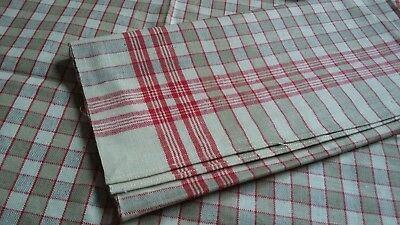 2x old unused red/brown checkered linen kitchen Towel