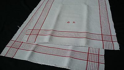 large heavy antique linen Towel / runner with red stripes around