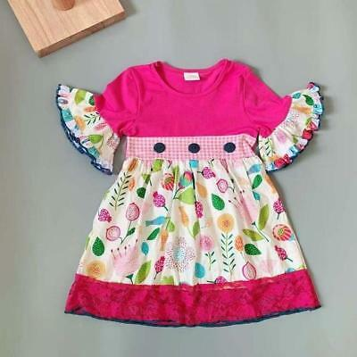W-1068 Boutique Pink Floral w/Buttons (Ready to Ship From Ohio) (Free Shipping)