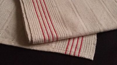 2x old metis kitchen Runners Towels with red borders