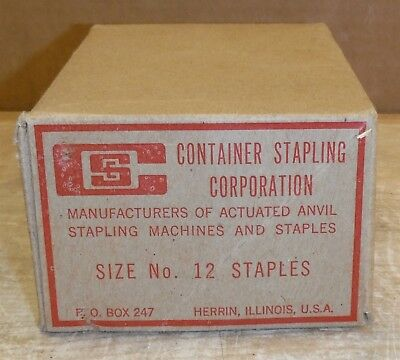 """Vintage Container Stapling Corp Box of 1760 1-1/4"""" x 1/2"""" Staples #12 213a"""