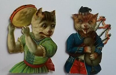 2 Victorian Anthropomorphic Scraps.Cats playing Bagpipes & Tambourine  app 9x7cm