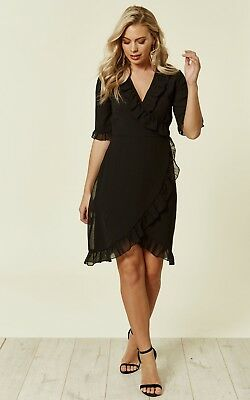 New Women's Black Ruffle Wrap Dress Ladies Day Evening Casual Dress Size 8-16
