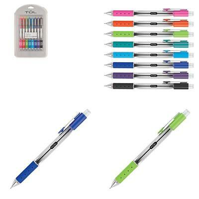 Tul Retractable Gel Pens, Needle Point, 0.7 Mm, Gray Barrel, Assorted Bright Ink