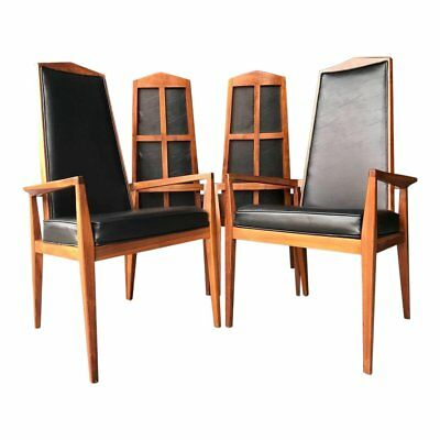 Mid Century Modern Foster McDavid High Back Dining Chairs - Set of 4