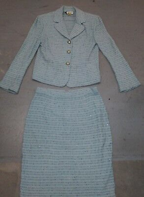 St John Collection By Marie Gray Set Jacket/Skirt Knit Multi Color Sz 10