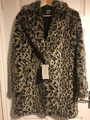 BNWT ZARA  AW 17/18 Faux Fur Leopard Print Coat  Size L  Sold Out Bloggers Fave