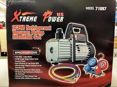 XtremepowerUS 3CFM or 4CFM Air Vacuum Pump HVAC A/C Refrigeration Manifold Kit