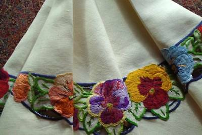 Exquisite Vintage Hand Embroidered Tablecloth~Floral Circle Jewel Colour Pansies