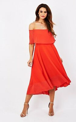 Women's Ladies Red Bardot Frill Midi Evening Cocktail Party Dress RRP £45