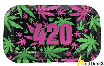 Tobacco Rolling Tray (Green and Purple Flower Style) 11x7