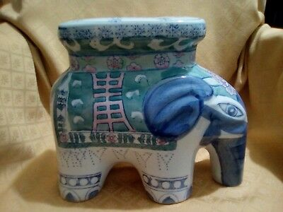 Vintage Ceramic Chinese Elephant Plant Stand Hand Painted