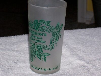 Vintage Gordon`s Cocktail Lounge Frosted Glass-Louisville Ky. Mint Julep