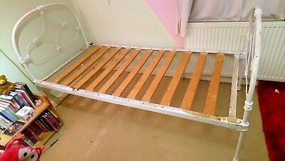 Vintage Iron Bed Frame - Single 6ft x 3ft - with slats