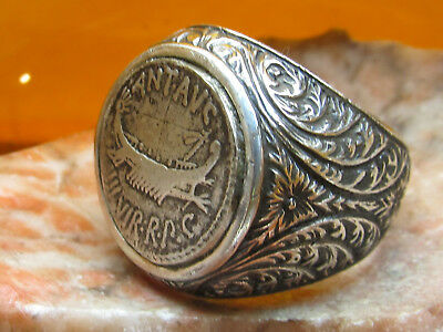 Authentic Ancient Roman Marc Antony Denarus paid to Legion XX Mens ring!