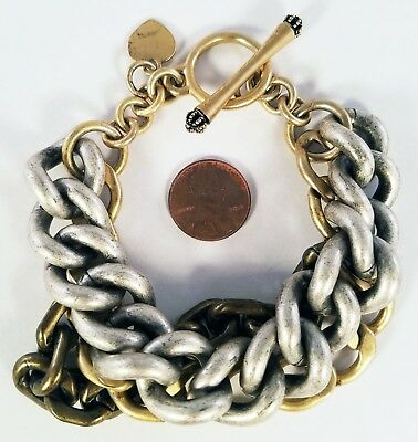 Juicy Couture Three Tone Silver Gold Bronze Heavy Link Chain Toggle Bracelet