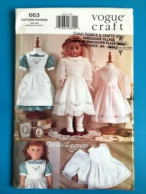 """Vogue Craft Uncut OOP Pattern 663 Teresa Layman 18 """" Doll Clothes Collection"""