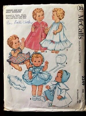 """Vintage 1959 Uncut McCall's Pattern 2349 Toddler & Baby Doll Clothes 23""""-25"""""""