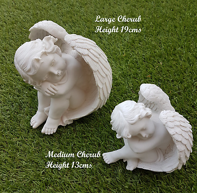 Grave Cherub Angel With Wings - Cemetery Memorial Ornament