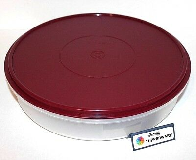 """Tupperware Pie Round Container 12"""" Freezer Safe Cookie & Cake Taker Bordeaux Red"""