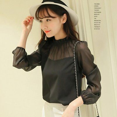 Long Sleeve Chiffon Shirt Solid Color Pullovers Summer Tops and Blouse Women EC