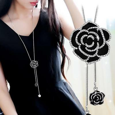Women Black Rose Flower Long Necklace Sweater Chain Crystal Fashion Jewelry Gift