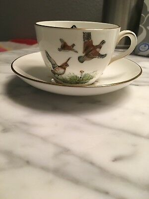 Crown Staffordshire English Bone China Tea Cup and Saucer Game Bird Design