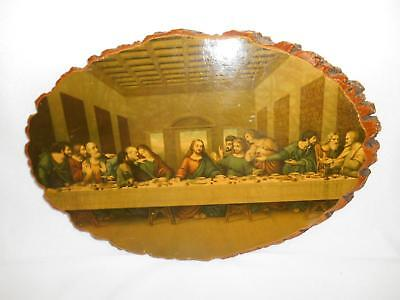 Old Vtg RELIGIOUS DECOUPAGE RELIGIOUS LAST SUPPER Ocean Aquarium Calif Souvenir