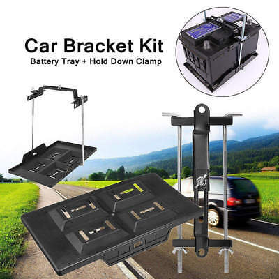 Metal Universal Car Storage Battery Holder Stabilizer Tray+ Hold Down Clamp Kit