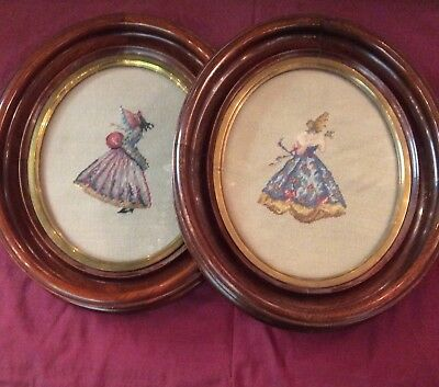 Pair of VICTORIAN Walnut Oval Frames with Vintage Hand Made PETIT POINT LADIES