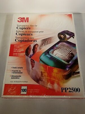 3M PP2500 Transparency Film For Copiers 100 Sheets 8½ x 11 New Sealed Box