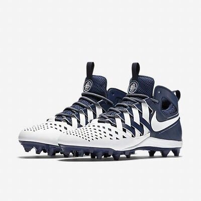 BRAND NEW Nike Huarache V Mid Fingertrap Lax Lacross Cleats size 8.5 Blue White