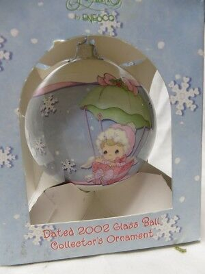 Vintage 2002 Baby Girls First Christmas Ornament,precious Moments,box Glass Ball