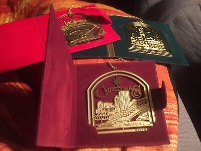 3 Christmas Indianapolis Collectors Ornaments Charleston Mint Easter Seals
