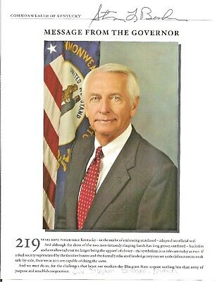 Steve Beshear  Governor of Kentucky 2007-2015   Autographed  8 x 10 Color Photo