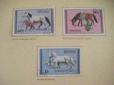 Set of 3 stamps.Mongolia. 1982. Horses