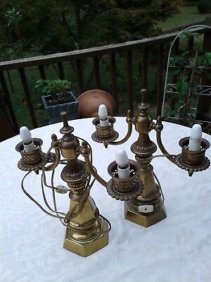 Pair Of Vintage Brass 2 Arm Table Lamps