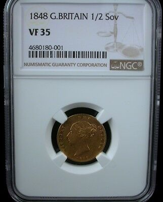 1848 G. Britain 1/2 Sov Ngc Vf 35 1848 Great Britain 1/2 Sovereign Gold Coin
